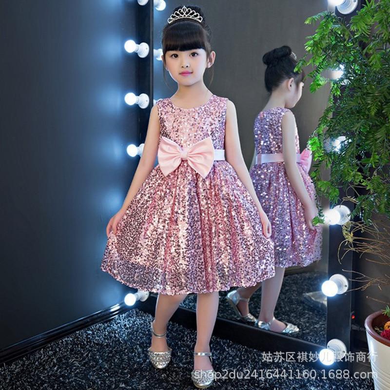 2019 New Style Cute Girls' Princess Skirt Girls Short Sequin Formal Dress Flash Boy's Formal Dress Birthday Catwalks Child Forma