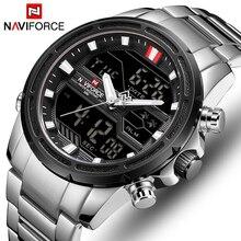 NAVIFORCE Men Quartz LED Digital Clock Male Blue Full Steel Military Wrist Watch Relogio Masculino Men Waterproof Watches