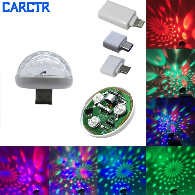 CARCTR New LED USB Car Atmosphere Light DJ RGB Mini Colorful Music Sound Control Lamp Interior Car Decorative Lamp Ambient Light