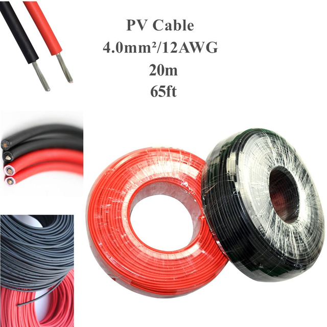 PV Solar Connector Cable 20m lot Black cable 10m+Red Cable 10m 4mm2 12AWG Black or Red TUV Approval Power Cable Mc 4 /MC3 WY
