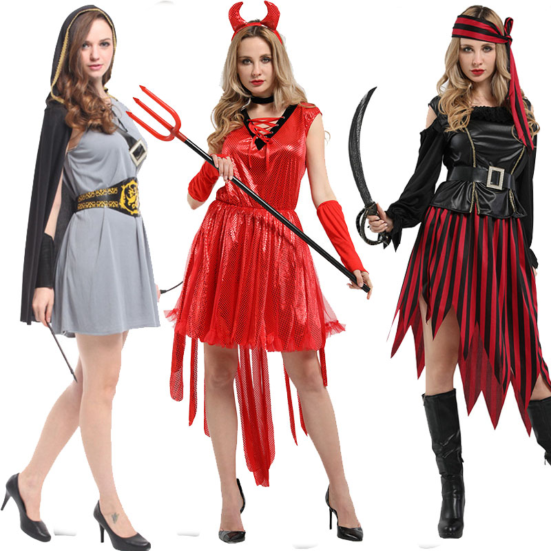 *CLEARANCE* Pirate Lady Striped Women/'s Fancy Dress Costume Wicked