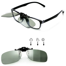 Polarized Square Flip Up Clip on Sunglasses Men Photochromic