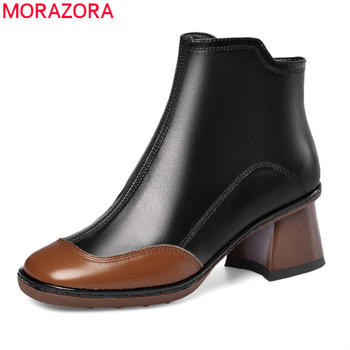 MORAZORA 2020 New Brand genuine leather ankle boots square toe simple fashion women shoes med heels winter women boots