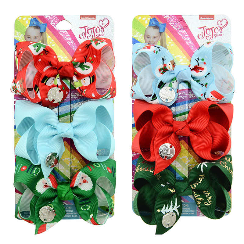 "1 set 3pcs 3"" party bows hair Clip Christmas Print Bows With Clips For Girls hair siwa bows Hair Accessories Hairpins Barrette"