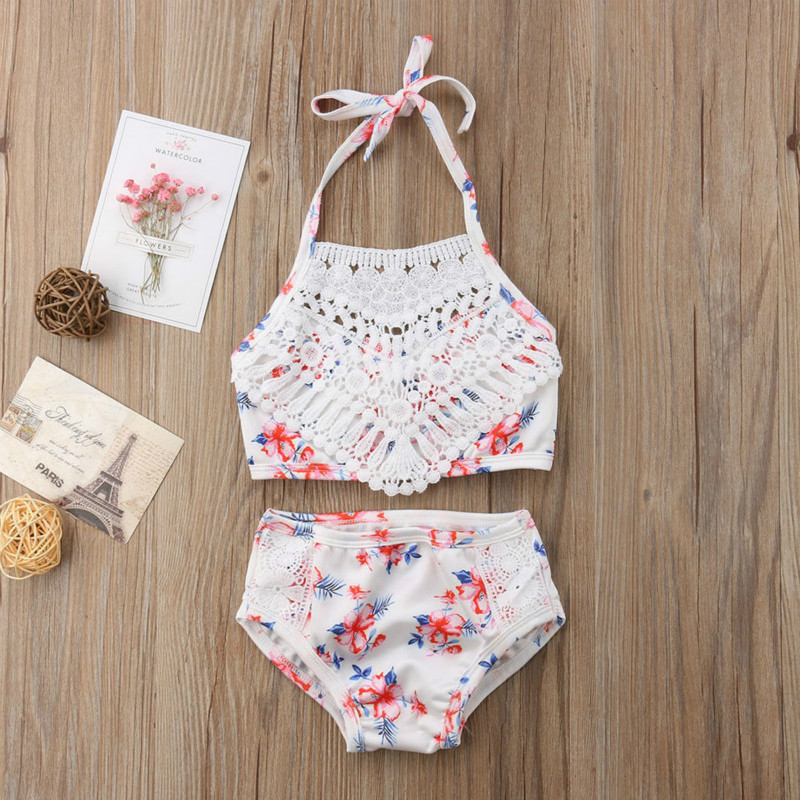 2Pcs Toddler Baby Girls Cute Printed Swimsuit Bathing Tankini Swimwear Bathing Suit Bikini Outfits Swimsuit Set Beachwear