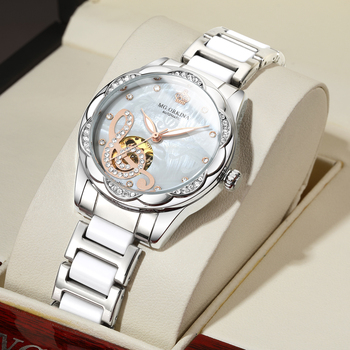 New Women's Watches 2021Diamond Luxury Design Ceramic Stainless Steel Strap Montre Femme Automatic Mechanical Relojes Para Mujer 2