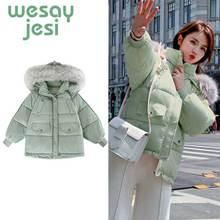 2019 Autumn thick Jacket coat Warm parka Woman Hooded Large Faux Fur Collar Coat fashion outwear plus size Winter coat women faux shearling hooded coat