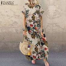 ZANZEA Summer Bohemian Floral Printed Cotton Linen Dress Vintage Short Sleeve Vestido Party Sundress Plus Size Loose Dresses 7