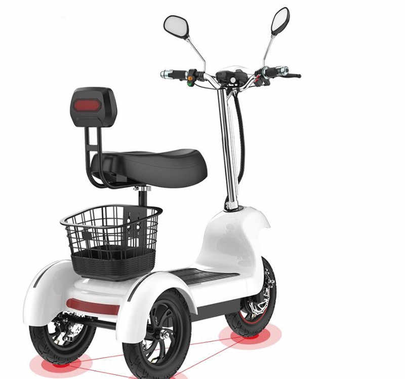 Daibot Electric Tricycle Bike 3 Wheels Electric Scooters Single Motor 500W 48V White/Black Electric Scooter With Seat Adults