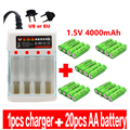 100% Новый AA батарея 4000 мАч перезаряжаемый аккумулятор AA 1,5 V аккумуляторная новая Alcalinas drummey + 1 шт., размер: 4-элементная батарея зарядное устрой...