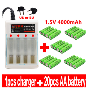 100% New AA battery 4000 mAh rechargeable battery AA 1.5 V Rechargeable New Alcalinas drummey +1pcs 4-cell battery charger