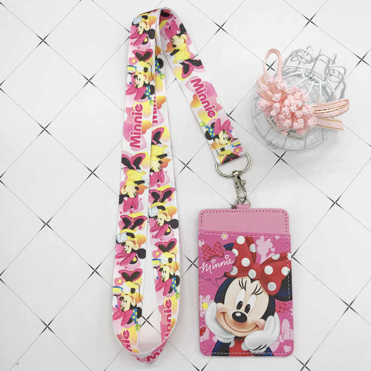 Disney Stitch PU portemonnee kaarthouder sleutelhanger sleutel lanyard maaltijdkaart bus card case coin bag Mickey mouse Document kaart tas