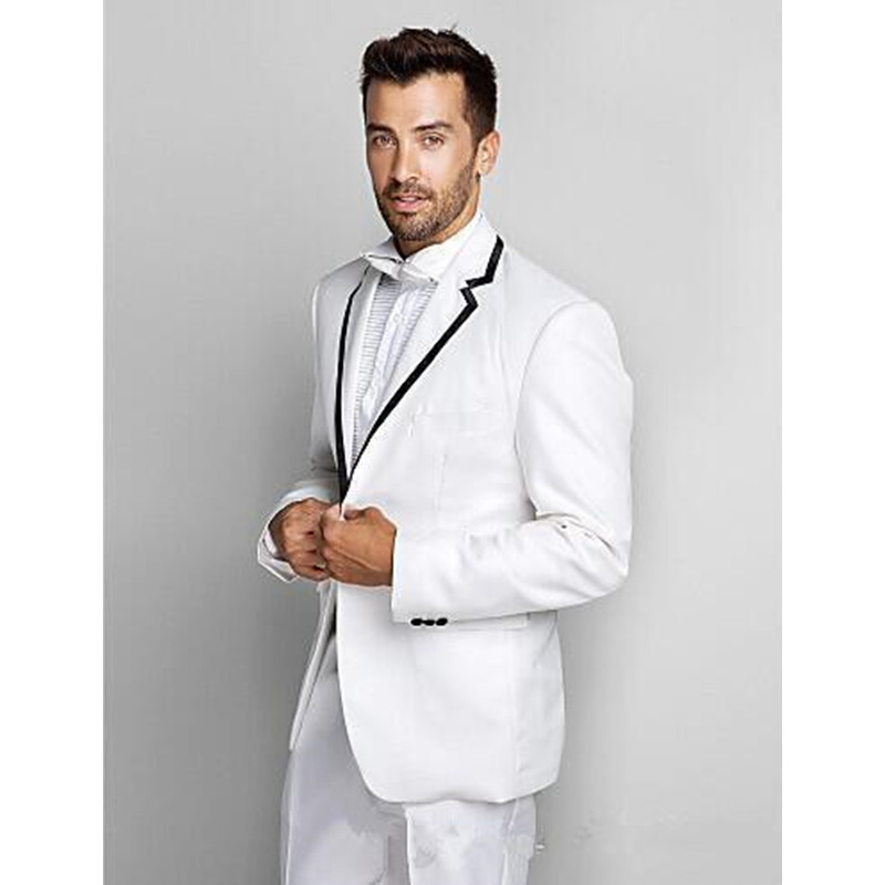 Two Pieces Custom Made New One Button Slim Fit White Wedding Dresses Tuxedos Men's Suits Men's Groom Tuxedos ( Jacket+Pants)
