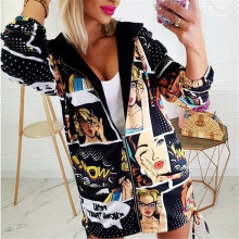Hot Women's Autumn Vintage Printes Zipper Jacket Loose Vintage Long Coat