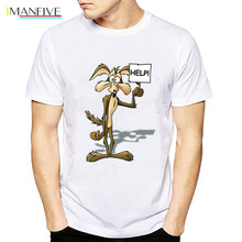 2019 Newest Wiley Coyote T Shirt men Looney Tunes Road Runner Cartoon Movie white tshirt Funny mens Casual tops Clothing