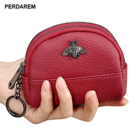 Coin purse multi layer simple small coin bag leather double zipper shell female small card bag new