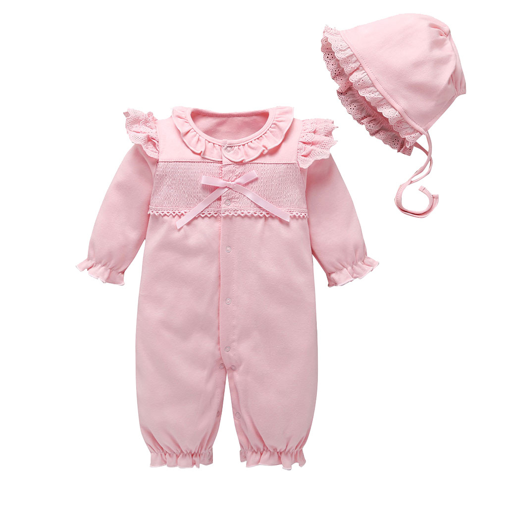 Newborn Baby Girl Clothes Lace Flowers Jumpsuits & Hats Clothing Sets Princess Girls Footies For 2019 Autumn Baby Body Suits 30