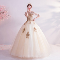 Gold Quinceanera Dresses 2020 Lace Applique Pearl Ball Gown Scoop Neck Half Sleeve Long Sweet 16 Prom Party Gown Walk Beside You