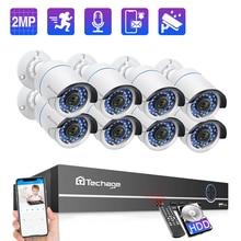 Techage 8CH 1080 1080p poe ipカメラnvrシステム 2MPオーディオサウンド記録cctvビデオセキュリティ監視セットirカットナイトバージョンホーム