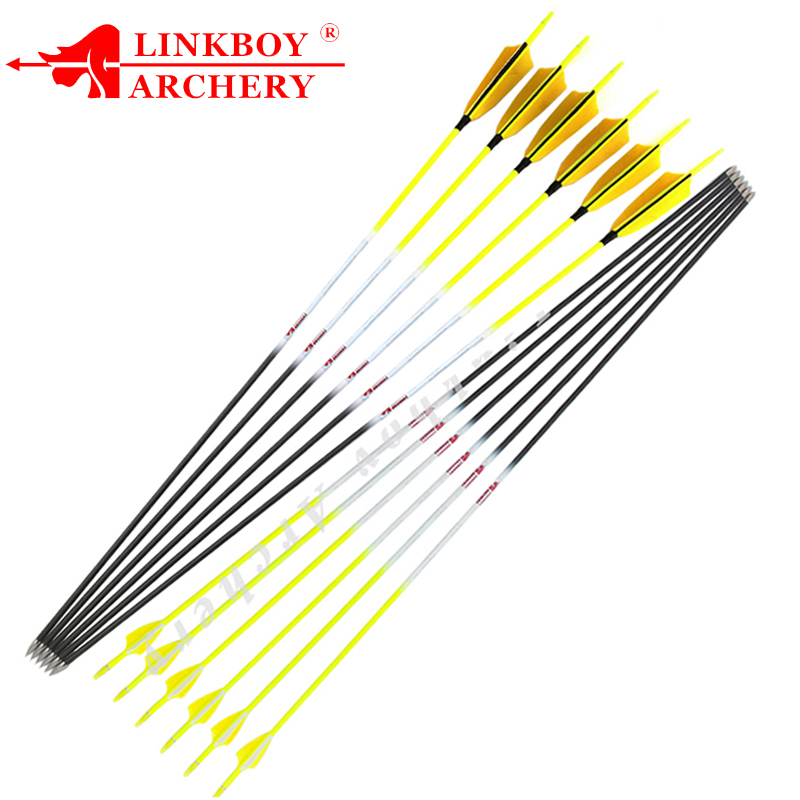 "6pcs 30/"" Hunting Carbon Arrows Spine 1200 Plastic Feather Archery Hunting"