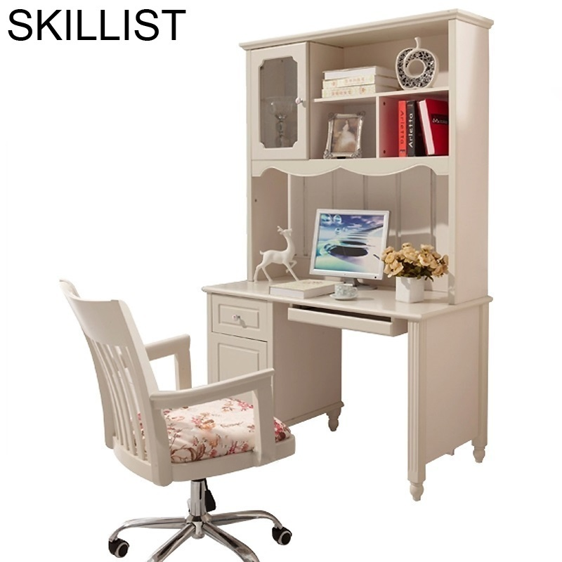 Support Ordinateur Portable Tafelkleed Biurko Bed Scrivania Shabby Chic Wooden Computer Tablo Mesa Desk Table With Bookshelf