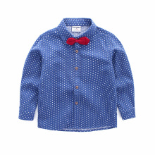 2019 Spring Autumn Boys Cotton Polka Dot Blouses Kids Boys Long Sleeve Shirt Children Fashion Shirt 3-8 Years Kids Clothes Tops 2018 spring girls embroidery blouses florals kids stripe shirt children kids tops long sleeve shirt cute school shirts blouses