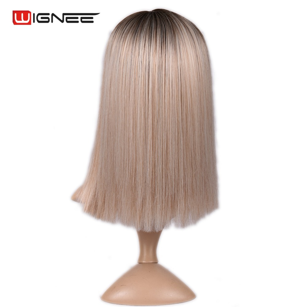 H6af3290b33cf4ebe850925de92bf4fbdn - Wignee 2 Tone Ombre Brown Ash Blonde Synthetic Wig for Women Middle Part Short Straight Hair High Temperature Cosplay Hair Wigs