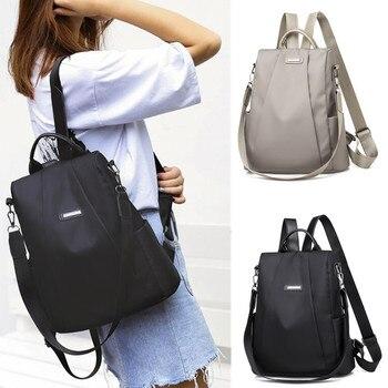 Женский портативный дорожный рюкзак с защитой от кражи, повседневный нейлоновый вместительный ранец для девушек, школьный портфель на плеч...