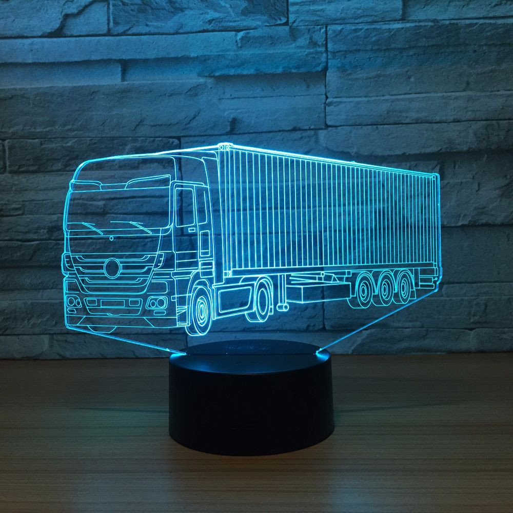 Container Truck 3D 7 Color Lamp Visual Led Night Lights For Kids Touch Usb Table Lampara Lampe