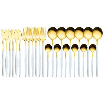 24pcs Gold Dinnerware Set Stainless Steel Tableware Set Knife Fork Spoon Luxury Cutlery Set Gift Box Flatware Dishwasher Safe - White Gold