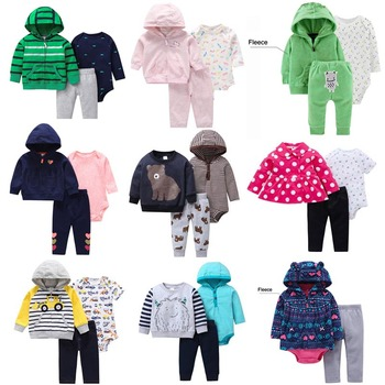 3 Pcs/Set Infant Baby Clothes 2020 Spring Fal Cotton Baby Coat+Pants+Bodysuit Long sleeves Newborn Bebe Girls Clothing OutfitS 2
