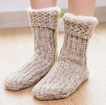 sunnyeverest men floor shoes Winter jacquard non-slip socks woolen Stockings cashmere Calcetines de invierno y terciopelo
