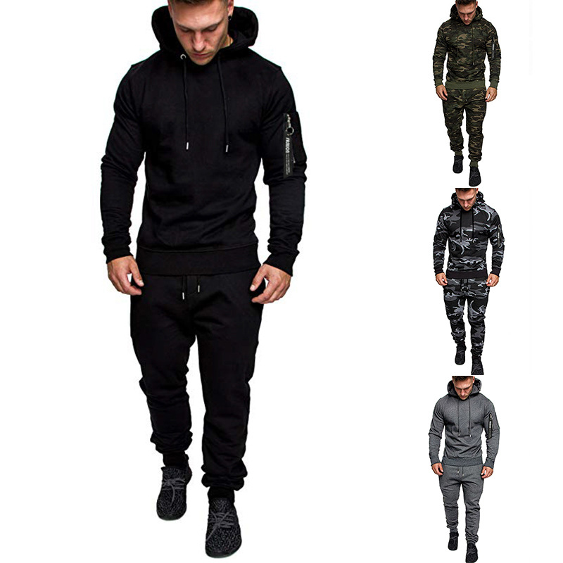 2019 Ouma Autumn And Winter New Style Men's Slim Fit Zipper Hooded Wei Solid Color Fashion & Sports Trousers Set Fashion
