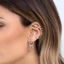 Bohemian Vintage Cartilage Climber Earcuffs Female Irregular Wave Crystal Clip on Earrings Ear Women Jewelry