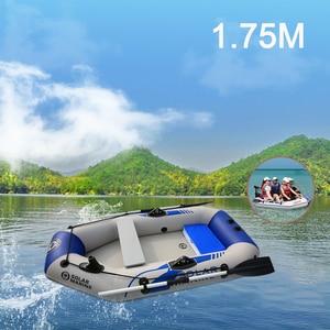 Image 1 - Barco de pesca de caiaque de 2 pessoas resistente ao desgaste do barco do pvc de 175cm + parte inferior da plataforma do ar + e motor para a pesca ao ar livre caiaque