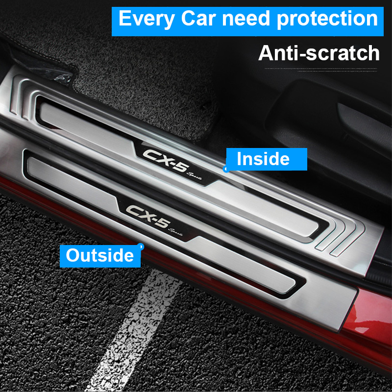 For <font><b>Mazda</b></font> CX-5 <font><b>CX5</b></font> 2017 2018 <font><b>2019</b></font> Car Door Sill Trim Scuff Plate Welcome Pedal Protector Cover stainless steel enterance Guard image