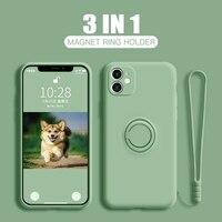Líquido anillo de silicona titular de la funda del teléfono para Huawei Y7A Y7P Y5 Y5P Y6 Y9 Y6S Y6P Y9A Y8S Y7 Y8P Y9S primer 2019 de 2020 soporte de cubierta