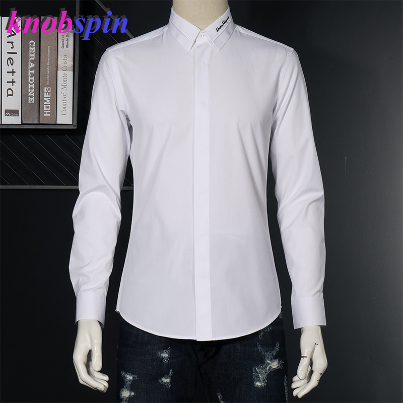Brand Quality Business Male Dress Shirt Solid Color Slim Long Sleeve Chemise Social Homme Embroidery Collar White Shirts Men