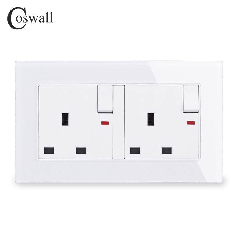 COSWALL Tempered Glass Panel 2 Gang 13A UK Standard Switched Socket With Neon Indicator Grounded With Children Protective Door