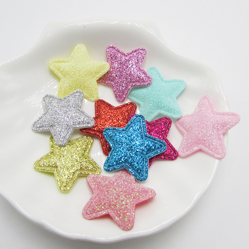 50PCS/Bag Glitter Patches Five-pointed Star Toys For Girls Apparel Sewing Material Patches For Clothing Garment Decorative Beads