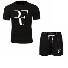 Roger Federer RF Tracksuit Summer Shirt +Shorts Outwear Sporting Men Sets T Shirts clothing Two piece suit Casual Tshirt(China)