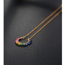 Sapphire Pendant Necklace Gemstones 14k Gold Gradient Yellow Gift DAIMI Red Faceted Smile-Clavicle