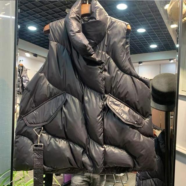 FMFSSOM Loose Causal  90%  White Duck Down Jacket Women Sleeveless Asymmetric Length Beige Spring Autumn Windpoof Basic Outwear 4