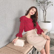 2019 Autumn New Womens Two-piece French Casual Elegant Temperament Polka Dot Shirt + A-lin Skirt  O-Neck Knee-Length Ruffles