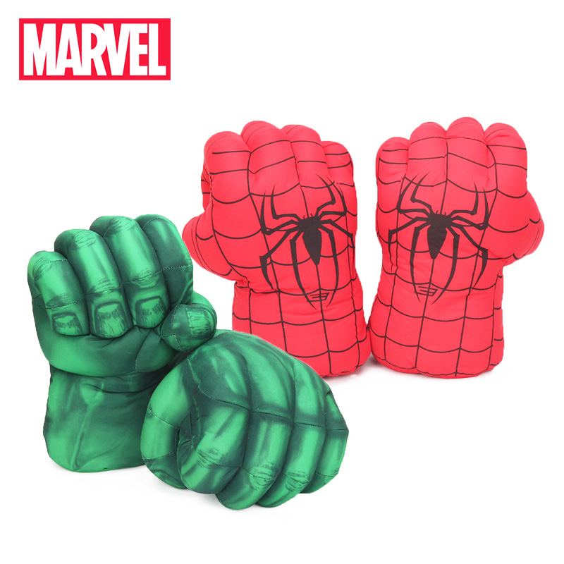 26cm Marvel Toys 2Pairs/lot Avengers 3 Infinity War Hulk Spider-man Plush Gloves Cosplay Prop Costume Plush Infinity Gauntlet