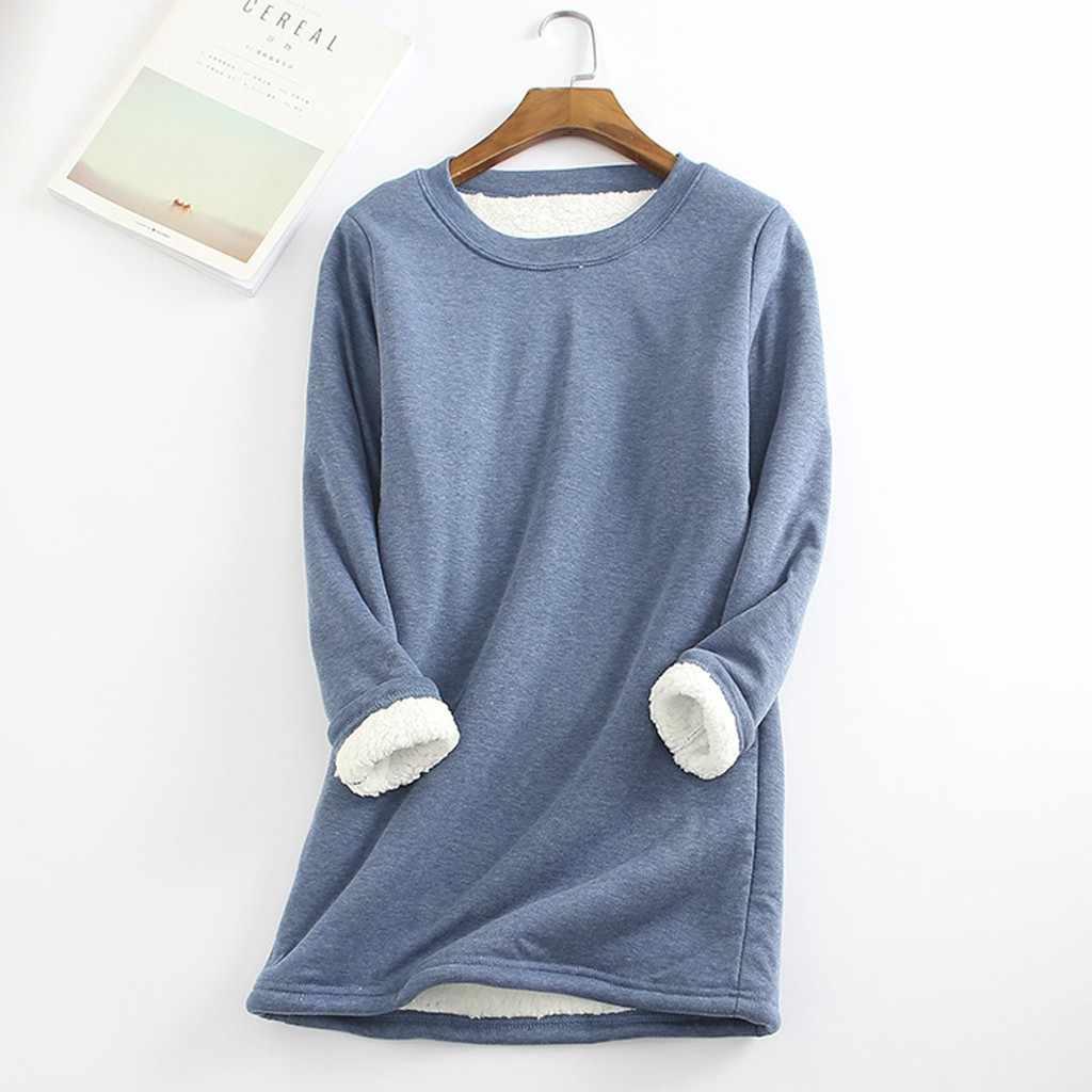 冬プラスベルベット長袖シャツ女性暖かい厚手 tシャツヴィンテージストリート Camiseta Feminina スリムレディース Tシャツ 1018