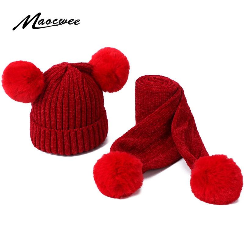 Children Scarf Hat Set Girls Winter Warm Suede PomPon Beanies Knitted Cap Wool Crochet Caps Unisex Kids Striped Skullies Hats