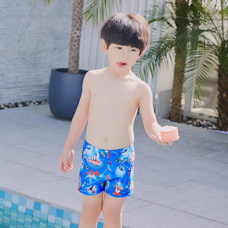 Cartoon Ultraman BOY'S CHILDREN'S Swimming Trunks 2019 New Style Children Baby Boys' Swimming Trunks Swimming Cap Set