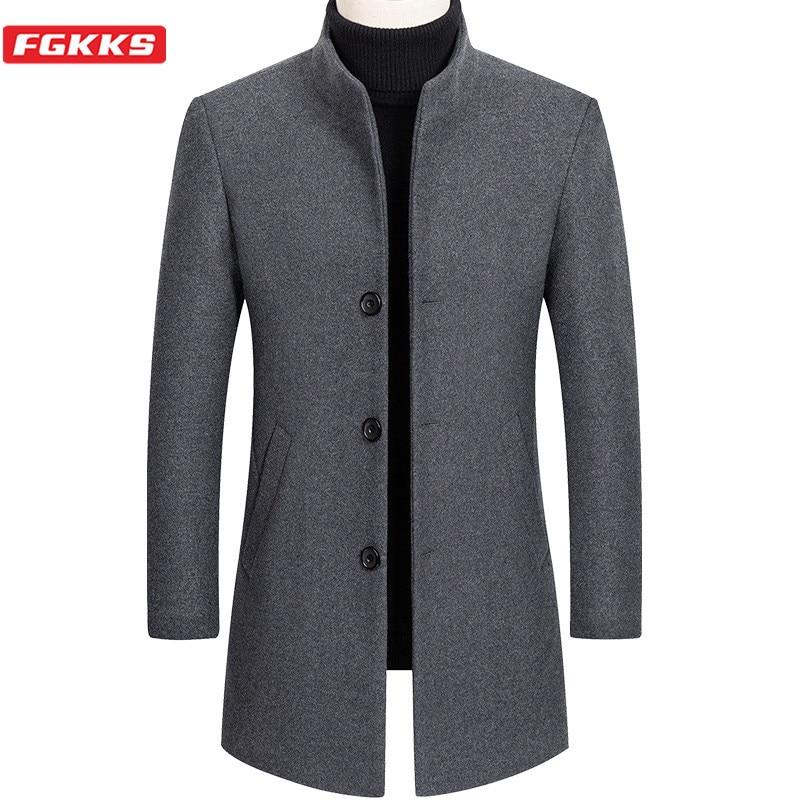 FGKKS Men Wool Blends Coats Winter New Solid Color High Quality Men's Brand Wool Coats Luxurious Wool Blends Coat Male