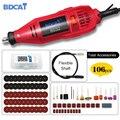 BDCAT электроинструменты гравировальная ручка Мини дрель вращающийся инструмент переменная скорость полировальная машина с 106 шт. Dremel Аксесс...